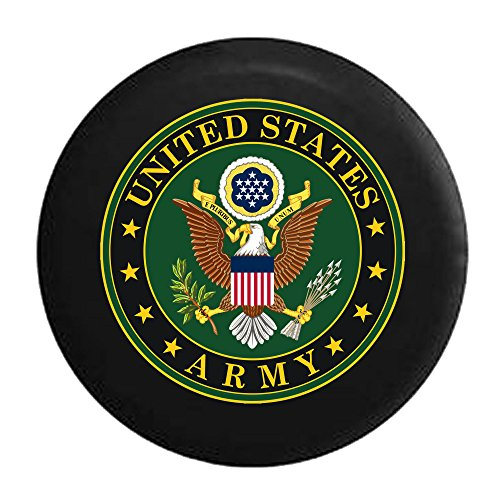 United States Army USA Eagle with Shield Military Seal Black/Green Spare Jeep Wrangler Camper SUV Tire Cover 33 in