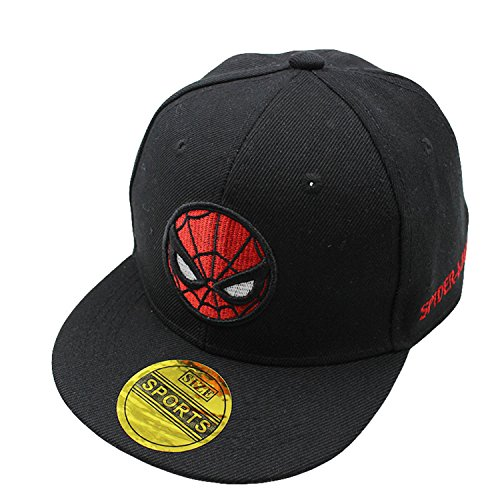 Diluma Kids Spider Man Cartoon Falt Hat Snapback Baseball Cap (Black) -