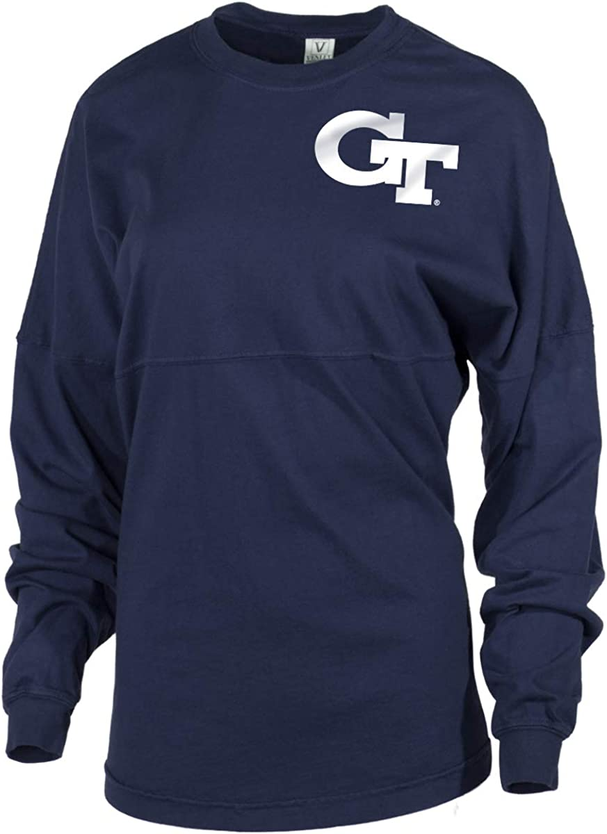 Official NCAA Venley Georgia Tech Yellowjackets GT RAMBLIN WRECK Womens Long Sleeve Tri Blend Football Tee