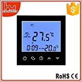wifi heater thermostat - WiFi Programmable Thermostat, LCD Touch Screen Temp Air Heating Condition Temperature Control Underfloor 16A 110V 7-Day Remote Backlight (Black)