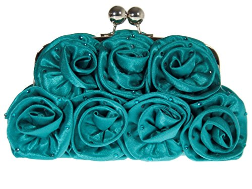 Bag Satin Clutch Bag Clasp Frame Roses Prom HandBags Girly Floral Wedding Teal Print Elegant Ball qzpwgE5