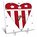 3dRose Anne Marie Baugh - Patriotic - America Land That I Love Red and White Americana Heart Illustration - 6x6 Desk Clock (dc_267631_1)