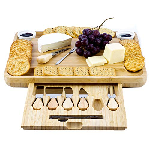 BeamShops XL Cheese Board And Knife Set - Natural Bamboo Charcuterie Board - Excellent Cheese Tray - Large Wooden Cheeseboard With 6 x Knives, 4 x Forks - Wedding And House Warming Presents (Cheeseboard)
