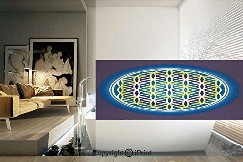 - Decorative Privacy Window Film/Nature Spirals Flower of Life Artistic Energy Sacred Illustration/No-Glue Self Static Cling for Home Bedroom Bathroom Kitchen Office Decor Indigo Violet Blue Yellow