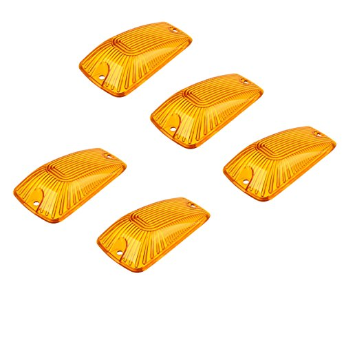 AEagle 5pcs Top Roof Light Cab Clearance Marker Cover Lens for 1988-2002 Chevy/GMC C/K1500/2500/3500/4500/5500/6500/7500 Kodiak Topkick Trucks (Amber)