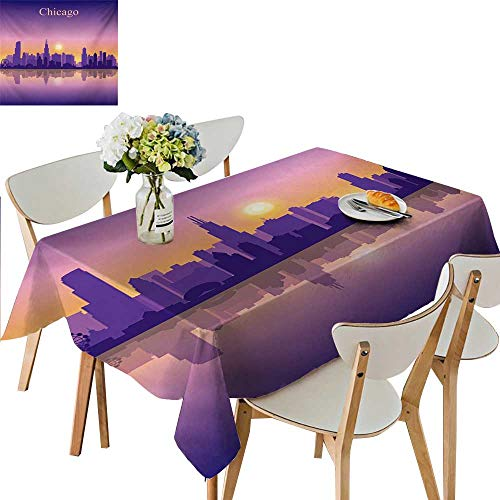 (Polyester Table Cloth,Sunset in Illinois American Horizon Behind High City Silhouettes Tablecloth Wedding Birthday Party Great for Partie,33.5W x 73L Inches)