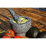 Jamie Oliver Mortar and Pestle 14 Granite mortar and pestle allows for quickly crushing spices, herbs and more Constructed with thick walls and base to form a generous 2 cup capacity Unpolished mortar interior-exterior and pestle for effective grinding