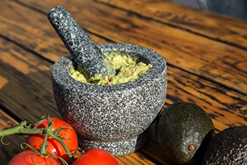 Jamie Oliver Mortar and Pestle 7 Granite mortar and pestle allows for quickly crushing spices, herbs and more Constructed with thick walls and base to form a generous 2 cup capacity Unpolished mortar interior-exterior and pestle for effective grinding
