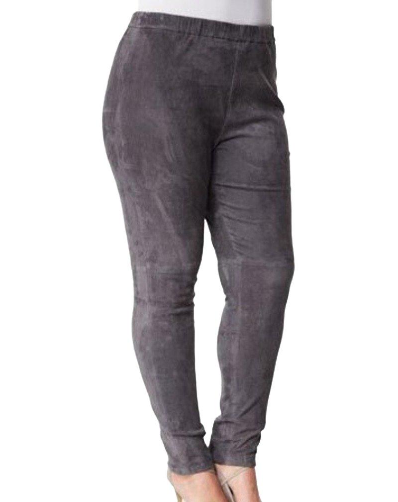 Marina Rinaldi Women's Egregio Slim Fit Leather Pants 14W / 23 Grey