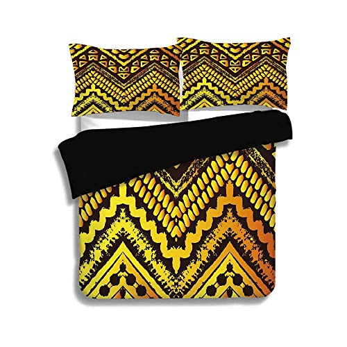 (BISHUO Black Duvet Cover Set Full Size,Tribal,Hand Drawn Painted Ethnic Pattern with Zig Zag and Stripes African Geometric Art,Yellow Black,3 Pcs Bedding Set 2 Pillow Shams)