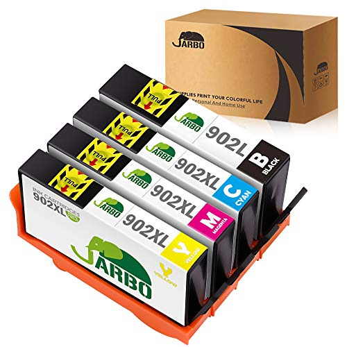 JARBO Remanufactured for HP 902 902xl Ink Cartridges High Yield, 1 Set(1 Black 1 Cyan 1 Magenta 1 Yellow), Use with HP OfficeJet 6968 6978 6958 6962 6960 6970 6979 6950 6954 6975 Printer