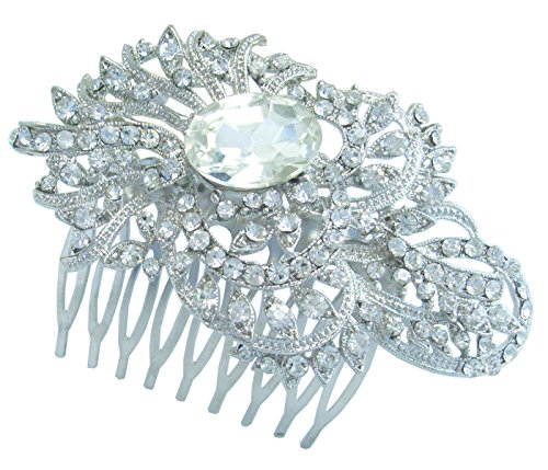 Sindary Wedding Headpiece 3.35'' Flower Bridal Hair Comb Clear Rhinestone Crystal HZ4892 by Wedding Hair Accessories-Sindary Jewelry