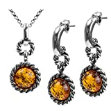 Amber Sterling Silver Round Victorian-style Set Stud Earrings Pendant Necklace Chain 18''