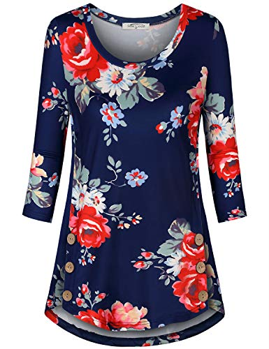 SeSe Code Blouse for Women,Career Tops Flower Pattern Tunics 3 4 Cuffed Sleeve Boutique Trend Shirt Pleat Hem Company Wardrobe Hipster Chic Style Navy Large ()