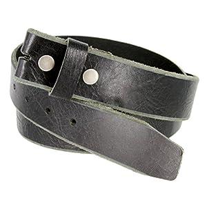Genuine One Piece Full Grain Vintage Buffalo Leather Belt Strap (46, Black)