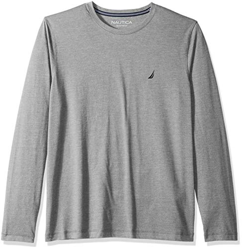 Nautica Men's Long Sleeve Crew Neck Soft Sleep Tee, Grey Heather, Large ()