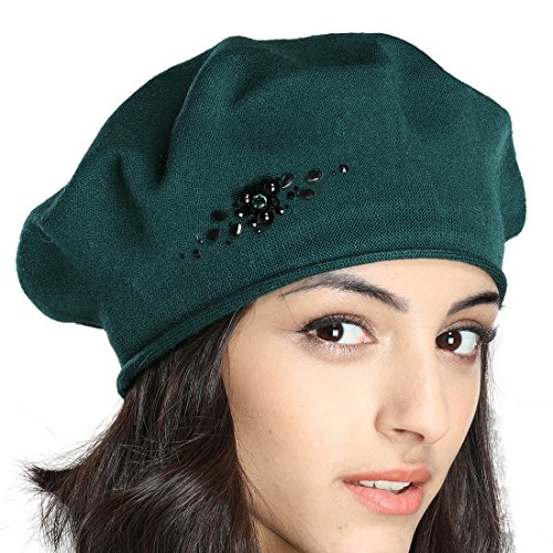 Flower Hat Embellished (Tomorrow Apariencia Women's Fall Thin Cotton Knit Beret Hat with Rhinestone Flower Decoration (One Size, Green))