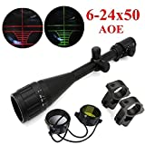 RioRand 6-24X50mm AOE Optics Hunting Rifle Scope Red/Green Illuminated Mil-dot With Mounts