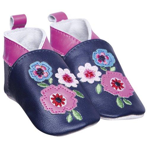 JoJo Maman Bébé B8907NAV1824 - Botas de bebé, estampado de flores, la marina de guerra
