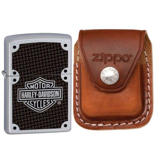 (Zippo 24025-HD Harley Davidson Satin Chrome Windproof Lighter with Zippo Brown Leather Clip Pouch)