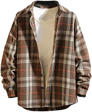 [ラッキーチャーム] ルーズフィット ドロップショルダー チェックシャツ メンズ 長袖