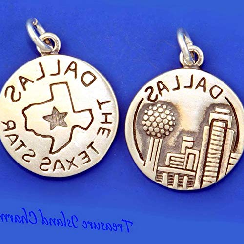 Lot of 1 Pc. Dallas City The Texas Star .925 Solid Sterling Silver Round Charm Pendant Vintage Crafting Pendant Jewelry Making Supplies - DIY for Necklace Bracelet Accessories by CharmingSS -