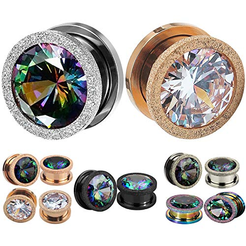 (SUPTOP 2PC Zircon Ear Gauges Rose Gold Plugs and Tunnels Gemstone Screw Stretched Ears 2g 00g -5/8 inch)