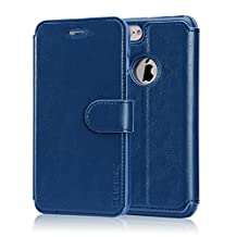 Belemay iPhone 6S Case, iPhone 6 Case, Genuine Cowhide Wallet Leather Case, Folio Book Cover with Magnetic Closure, Credit Card Slots, kickstand, Money Pouch for iPhone 6s & iPhone 6 - Midnight Blue