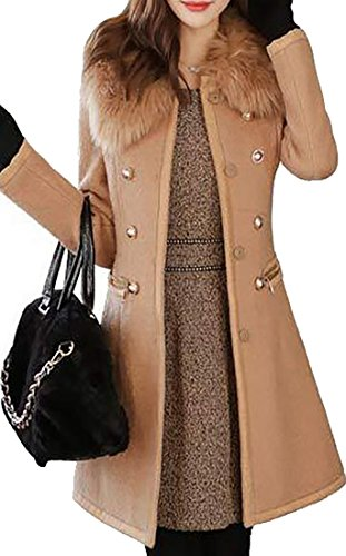 Fur Collar Double Breasted Wool Coat - 8