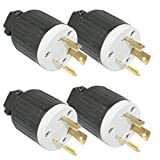 Superior Electric (4 Pack) YGA017 NEMA L6-30 Twist Lock 30 Amps, 250V Heavy-Duty 3-Wire Replacement Electrical Plug # YGA017-4pk