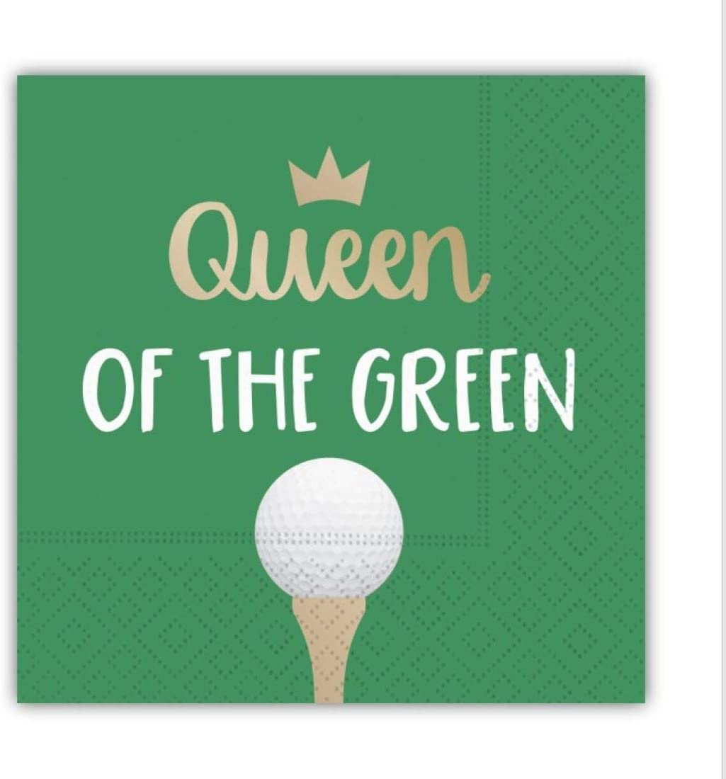 Queen of the Green Funny Cocktail Napkins, Golf Themed Beverage Napkins - 5x5 Inch, 16 Count