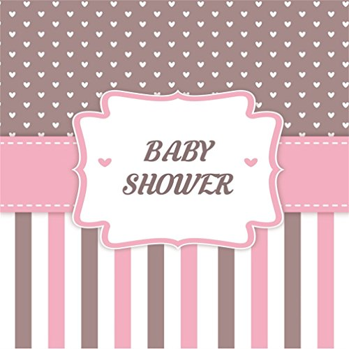 CSFOTO 8x8ft Background for Sweet Baby Shower Decoration Photography Backdrop Girl Pink Stripes Welcome Little One Happy Celebration Pregnant Announcement Photo Studio Props Vinyl Wallpaper (Photo Album 8' Digital)