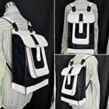 JEM Hand Sewn Leather Travel Backpack (Black & White)