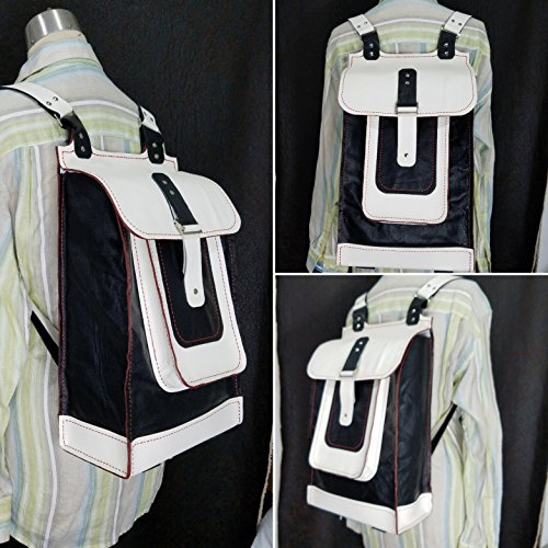 JEM Hand Sewn Leather Travel Backpack (Black & White) by Herminia's Creations