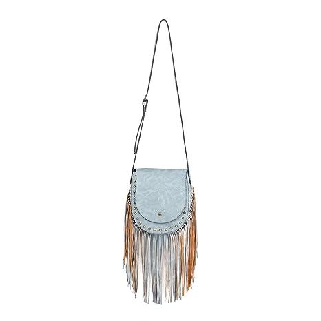6967acc568 Miss Lulu Borsa a tracolla Donne vagabondo Sguardo scamosciato Frangia  nappa Boho Cross Body Bag Trend