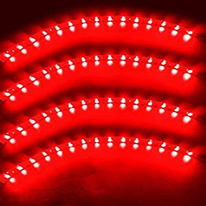 Zento Deals 30cm Red LED Car Flexible Waterproof Light Strip (Pack of 4)