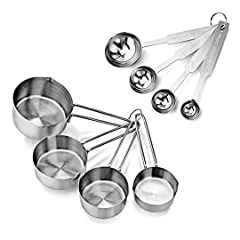 New Star Foodservice | Measuring Cup & Spoons Sets 26 Stainless steel measuring cups and spoons set Measuring cups: 1 cup, 1/2 cup, 1/3 cup, and 1/4 cup Measuring spoons: 1 tbsp., 1 tsp, 1/2 tsp, 1/4 tsp