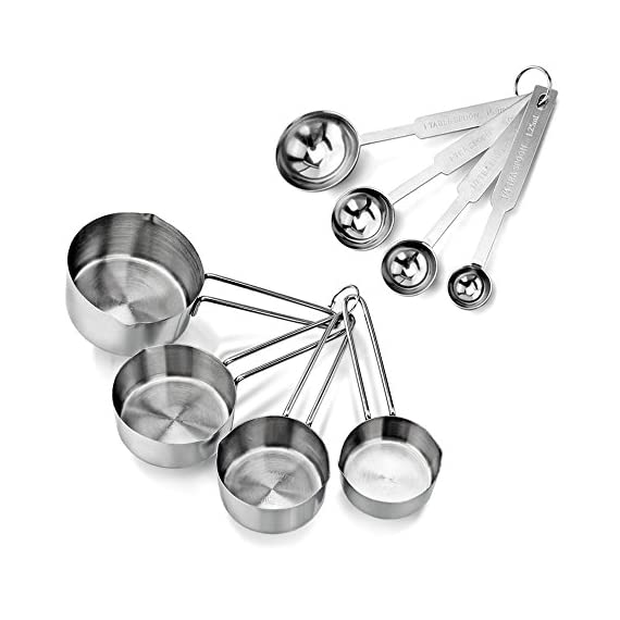 New Star Foodservice | Measuring Cup & Spoons Sets 1 Stainless steel measuring cups and spoons set Measuring cups: 1 cup, 1/2 cup, 1/3 cup, and 1/4 cup Measuring spoons: 1 tbsp., 1 tsp, 1/2 tsp, 1/4 tsp