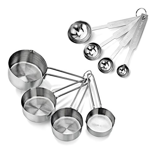 New Star Foodservice 42917 Stainless Steel Measuring Spoons and Cups Combo, Set of 8, Silver (Measuring Spoons Stainless Steel Steel)