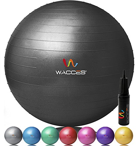 Wacces® Fitness Exercise and Stability Ball (Black, 55 cm)