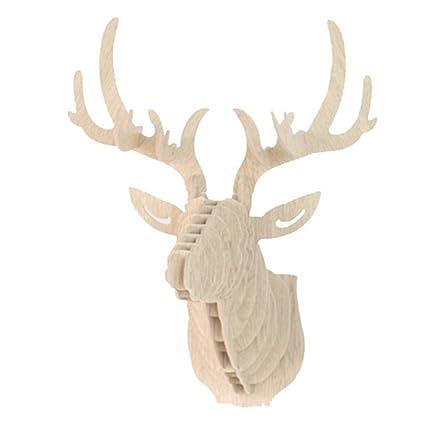 NIBESSER 3D Suspension Murale Sculpture de Tête de Cerf Décoration Murale  Entrée Couloir 29.5cmx21cmx37cm