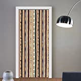 Gzhihine custom made 3d door stickers Tribal Traditional Ethnic Striped Pattern with Abstract Ornamental Details Vintage Artwork Multicolor For Room Decor 30x79