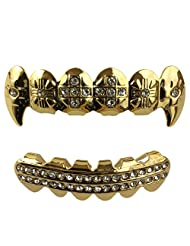 24K Gold Plated Grillz Fangs With Crosses + 2 EXTRA Molding Bars