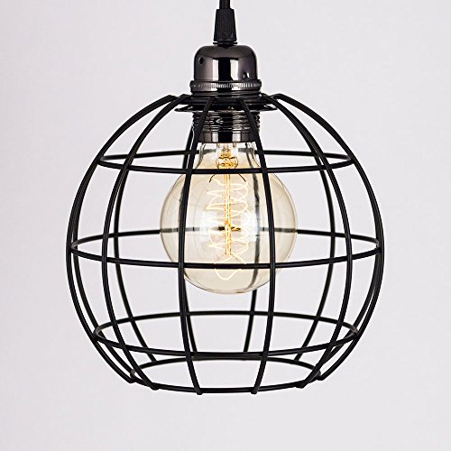 PaperLanternStore.com Classic Retro Pearl Black Pendant Light Cord PLUS Sphere Bulb Cage Combo Kit by Fantado - No Bulb Included - 11 FT Braided Fabric Cord with On/Off Switch - 11' Outdoor Pendant