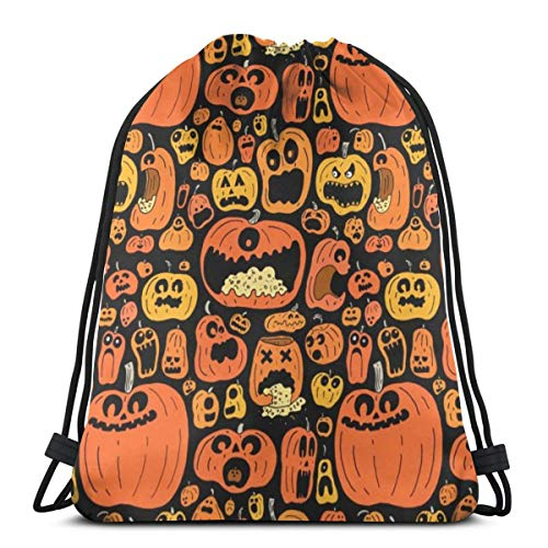 Funny Halloween Calabazas Pumping Rope Bags Drawstring Backpack Bundle Mouth Unisex Sport Bag]()
