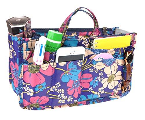 Vercord Printed Purse Handbag Tote Insert Organizer 13 Pockets With Zipper Handle Flowers Medium