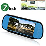 PONPY 7 TFT Color LCD Screen 2 Video Input Car Rear View Mirror Monitor Vehicle Parking In-mirror Monitor for DVD/VCR/Car Reverse Camera