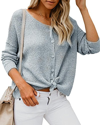 Imily Bela Womens Button Knot Front Sweater Shirt V Neck Batwing Long Sleeve Tops
