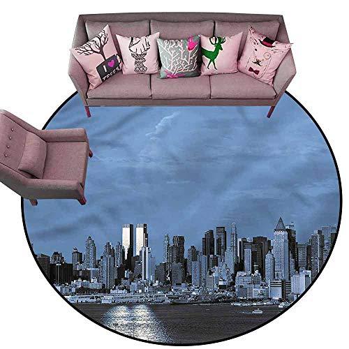 Dining Table Rugs Urban,New York Skyline at Night Diameter 78