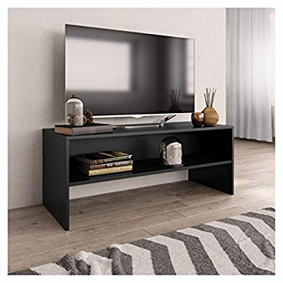 """K&A Company Entertainment Center & TV Stand, TV Cabinet Black 39.4""""x15.7""""x15.7"""" Chipboard"""